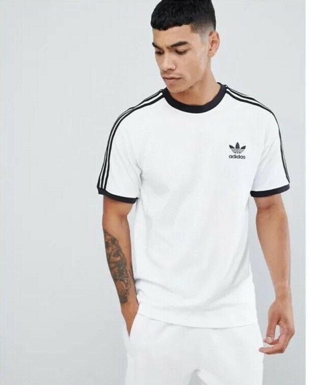 adidas Originals Retro Tee 3 Stripe Trefoil 70s T-Shirt?  White & Black  BNWT