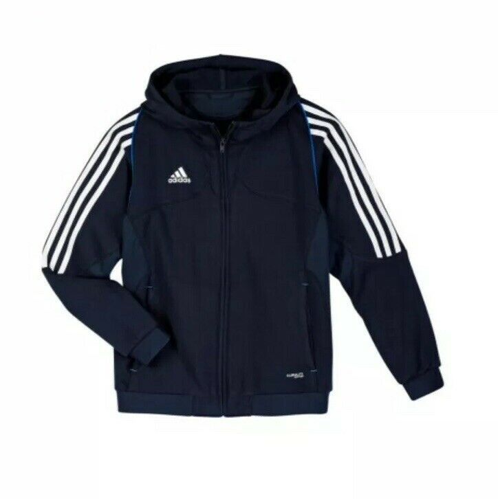adidas performance Junior T12 Hoody Hoodie Full Zip Navy Blue BNWT X34273