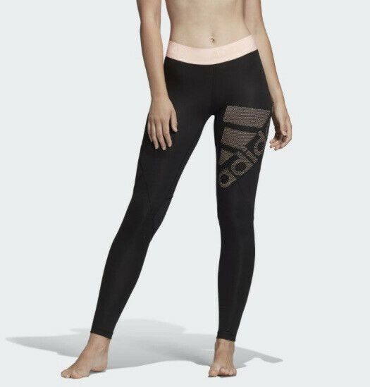 adidas Women's Alphaskin Sport Logo Tights Running Compression Pants DN9062